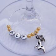 Sun Lounger Personalised Wine Glass Charm